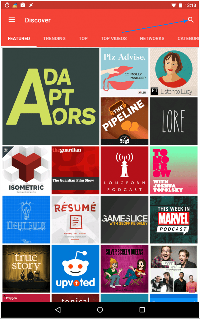 once-installed--open-pocket-casts-and-click-the-search-icon